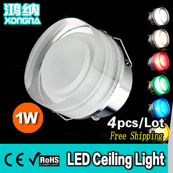 Free Shipping 4pcs/Lot High Power 1W LED Ceiling Lights with Acrylic Mask Epistar Chip, Warm White/Cold White