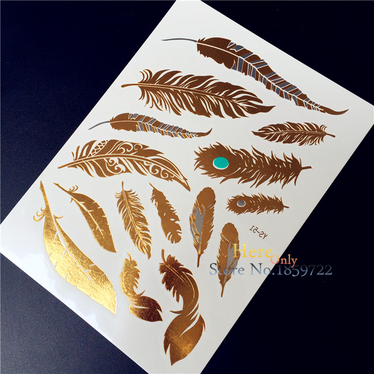 Tattoo Flash Wallpaper By Feathr: Peacock Feather Design HYS 51 Flash Metallic Temporary