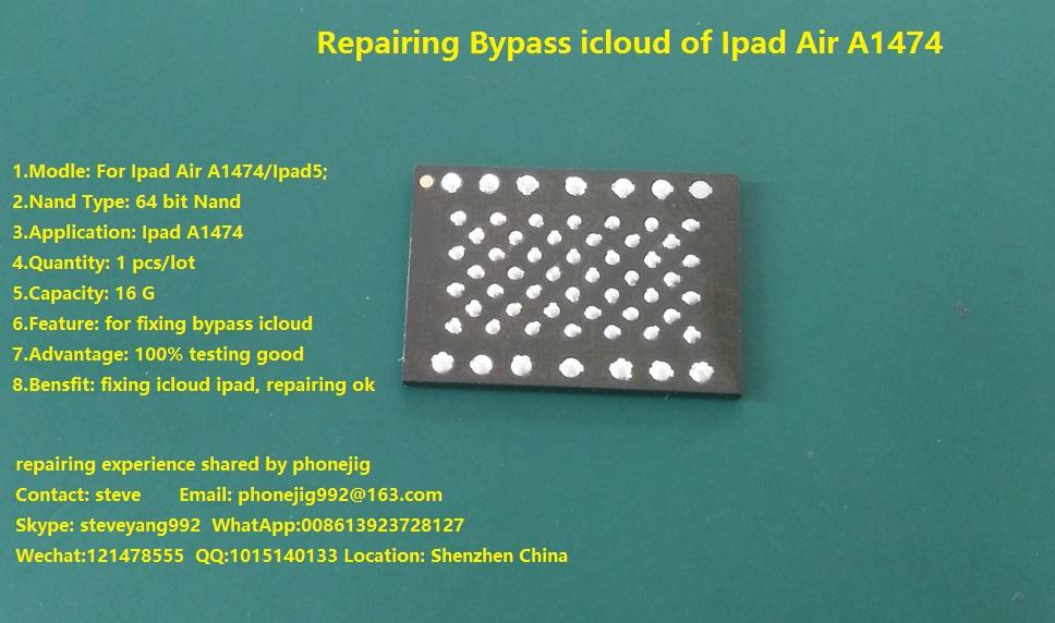 unlock ipad air nand flash 16GB with serial number,sn Code,ipad hdd chip bypass A1474 icloud ipad air1, 100% good free ship(China (Mainland))