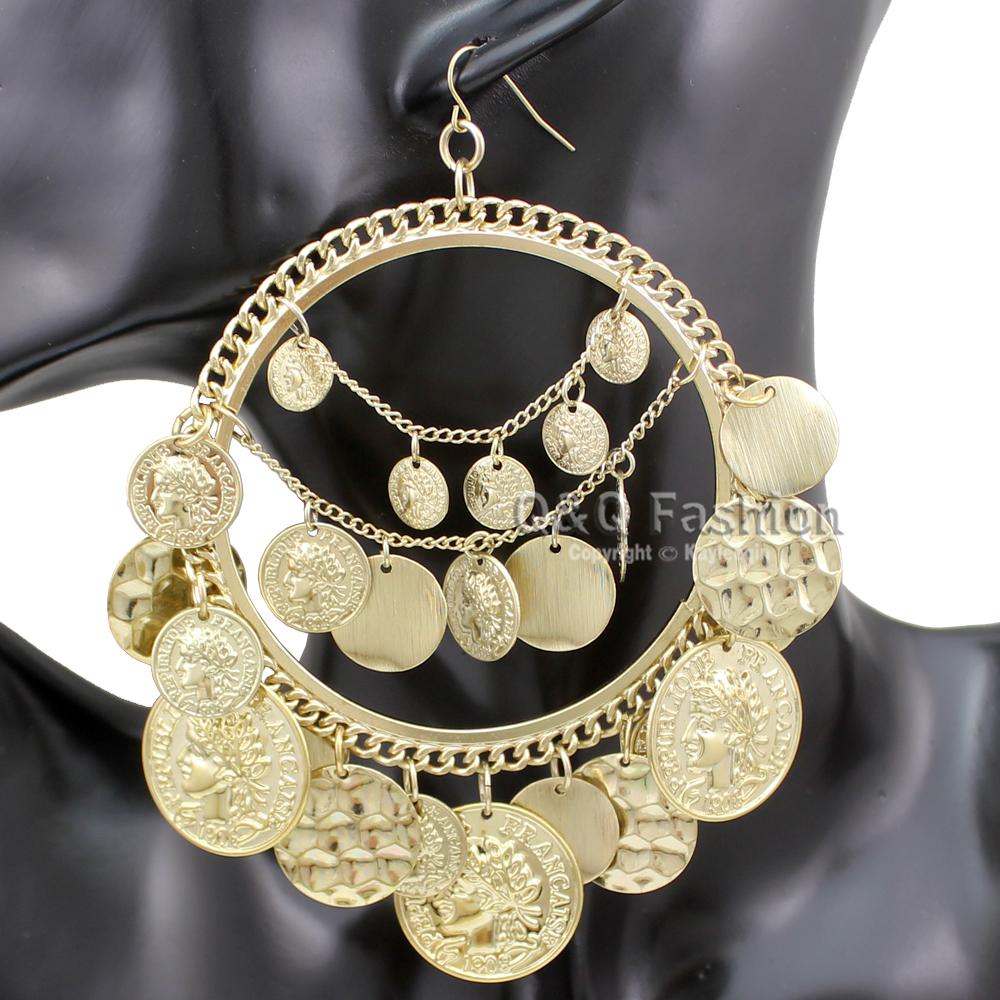 Tribal Rare Coins Big Hoop Banjara Kuchi Belly Dance Chain Boho Gypsy Earrings Jewelry Free Shipping(China (Mainland))