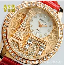 100 pc lot 3d  Mini Golden Eiffel and Triunf arch rhinestone women watch Korean analog quartz new  dress watch