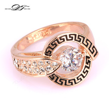Hot Vintage Wedding Finger Ring Wholesale CZ Diamond 18K Rose Gold Plated Crystal Engagement Jewelry For