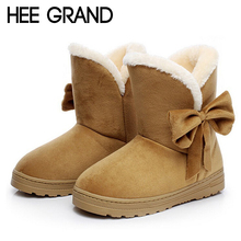 2015 Warm Winter Snow Boots Bowtie Women Boots Flock Fur Inside Platform Ankle Boots Casual Flats Comfortable Shoes Woman 1385(China (Mainland))