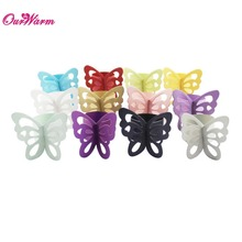 wholesale 120pcs Pearlescent Paper Butterfly Napkin Rings 11 colors Weddings Party Serviette Table Decoration(China (Mainland))