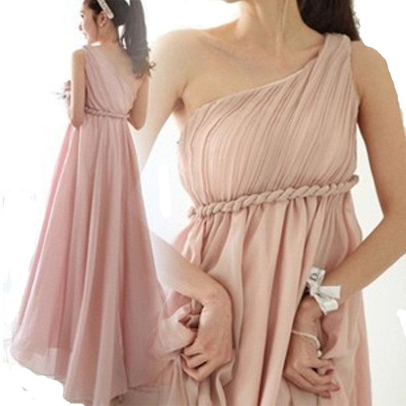 Women Dresses One Shoulder dresses 2015 purple pink long maxi elegant one shoulder chiffon vestido de festa Summer dresses(China (Mainland))