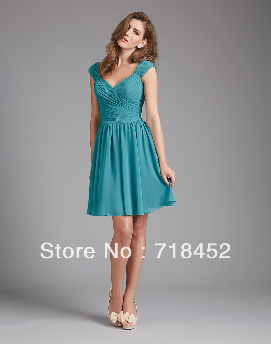 Online get cheap turquoise bridesmaid dresses knee length new turquoise bridesmaid dress chiffon cap sleeve a line knee length pleated free shipping sv256 ombrellifo Image collections