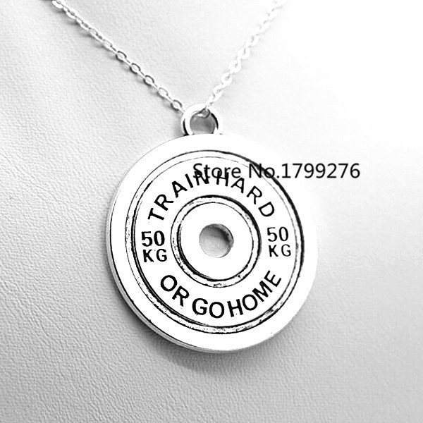 High Quality Train Hard Or Go Home 50KG Weight Plate Necklace Gym Jewelry 10 pcs/lot(China (Mainland))