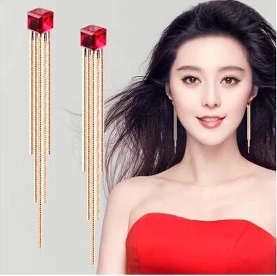 LLJ Long Stud/clip earrings women earring red blue crystal earrings fashion tassel chinese style design long stud dropearrings(China (Mainland))