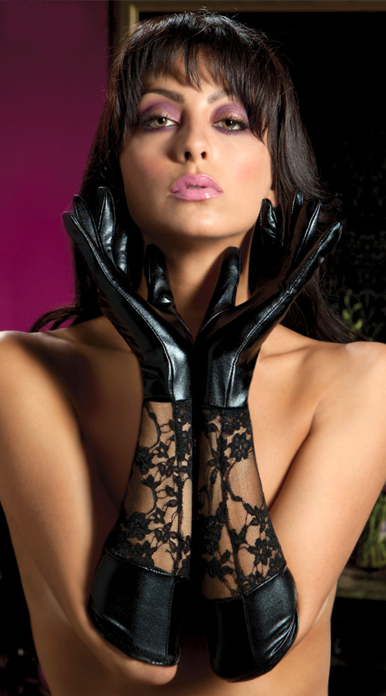 Sexy elbow length long latex gloves wet look leather mittens metallic gloves leather lace gloves wedding gloves for women(China (Mainland))