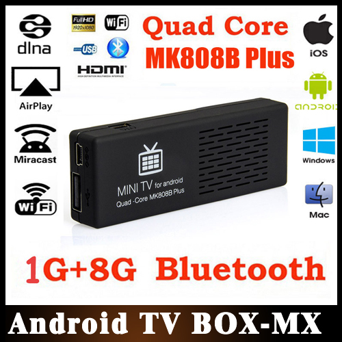 10pcs/lot MK808B Plus Amlogic M805 Quad Core Android TV Box 1G/8G WIFI H.265 Hardware Decode Bluetooth IPTV XBMC Smart TV Player(China (Mainland))