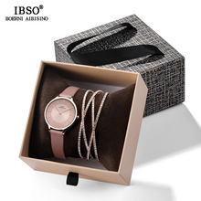 IBSO קריסטל צמיד שעונים סט נשי באיכות גבוהה קוורץ שעון יוקרה נשים שעון צמיד סט מתנת האהבה(China)