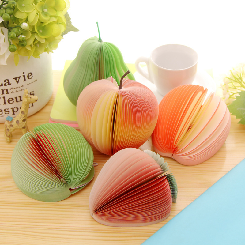 5PCS/LOT The Fruit Shape Notepapers Apple Notepad Green pear notepapers Peach Notepad Watermelon notes Strawberry notes(China (Mainland))