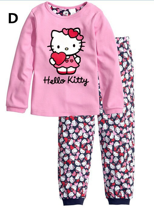 Free Shipping 2015 New Cotton Baby Boy Girl Kids Sleepwear Suits Toddler Cartoon Long Sleeve Pajama Sets Children clothing sets(China (Mainland))