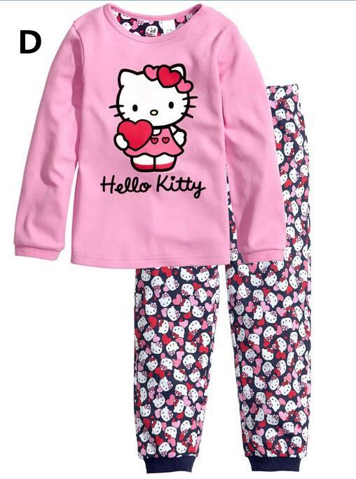 Free Shipping 2015 New Cotton Baby Boy Girl Kids Sleepwear Suits Toddler Cartoon Long Sleeve Pajama Sets Children clothing sets(China (Mainland))