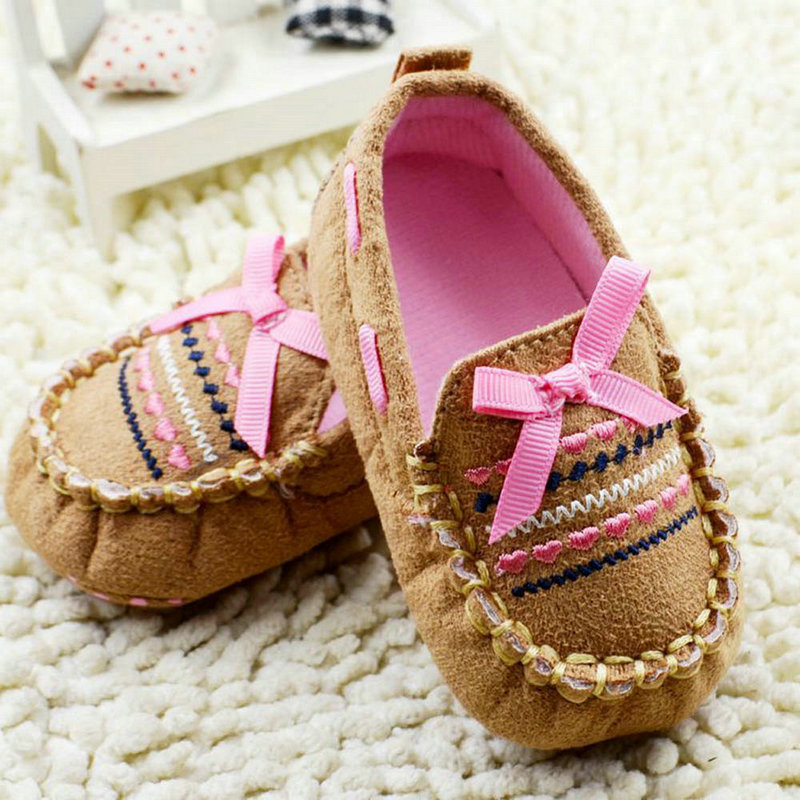 Unique Infant 0-18Months Baby Toddler Boy Girl Bow Brown Soft Sole Handmade Crib Shoes Hot