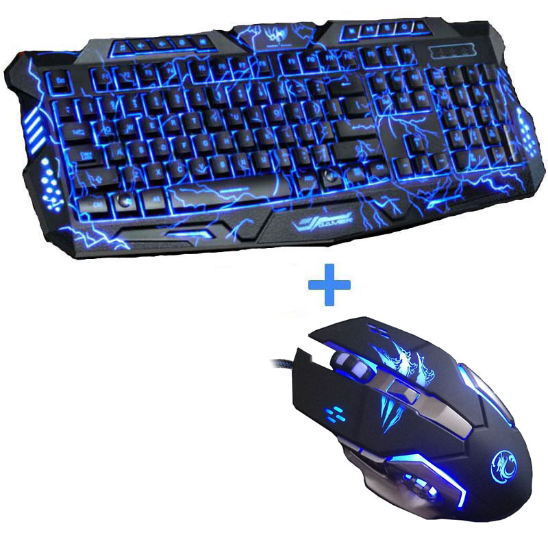 New Advanced Tri-color Backlight Gamer Keyboard Gaming Keyboard Mouse Combo 6 Buttons 3200 DPI Mechanical Pro Gaming Mouse(China (Mainland))