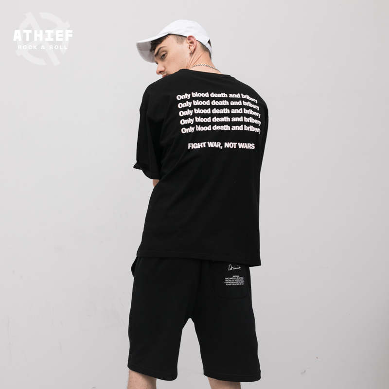Athief summer Men Round neck T-shirt Tide card Back Ghosting letter printing Antiwar Short sleeves Shirt(China (Mainland))