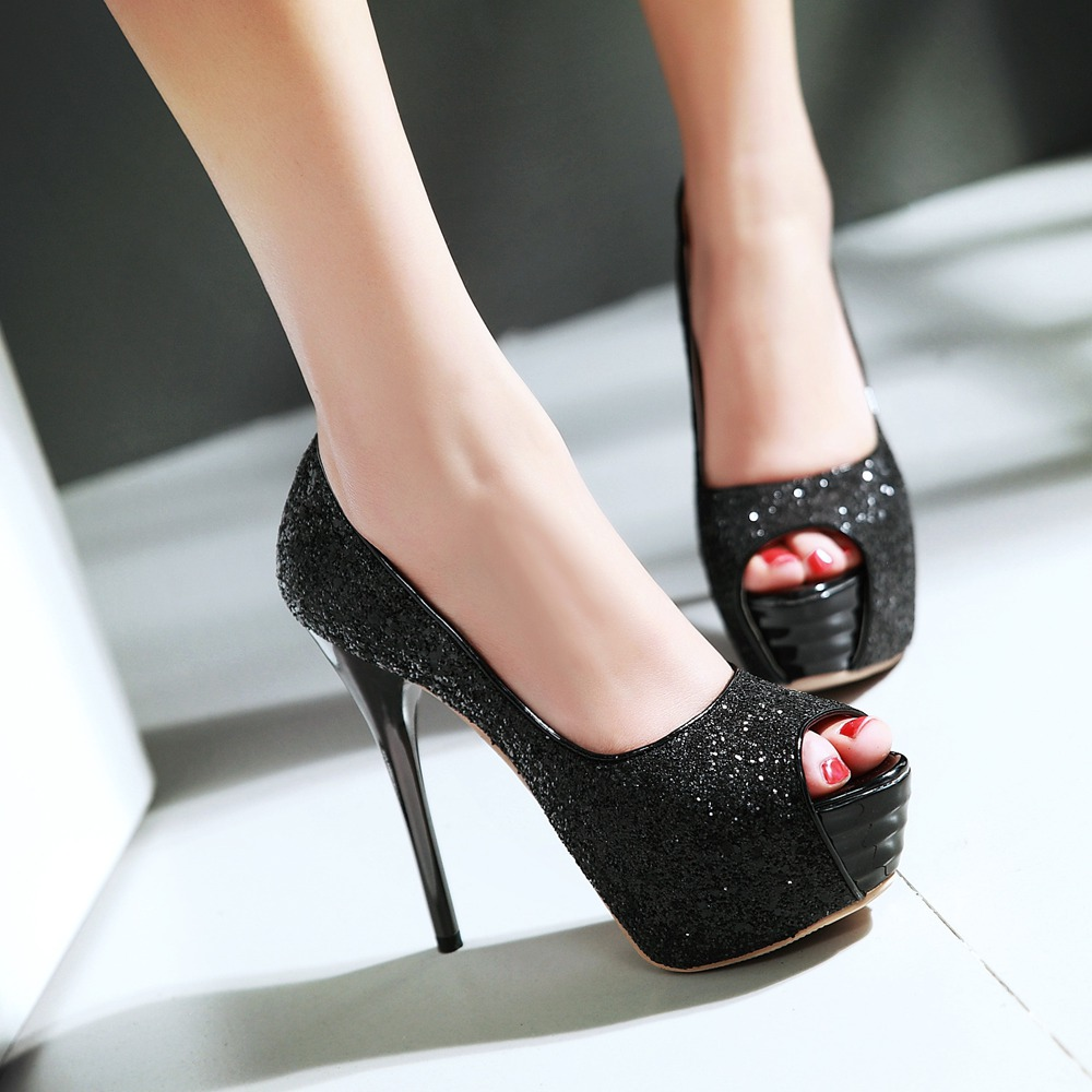 Ladies Silver High Heel Shoes