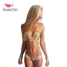 Pocket Girl 2016 New Nuevo Vendaje Halter Swimsuit Bikini Set Costume Biquini Brazilian Sexy Top Thong Mujer Brasileno Trikini