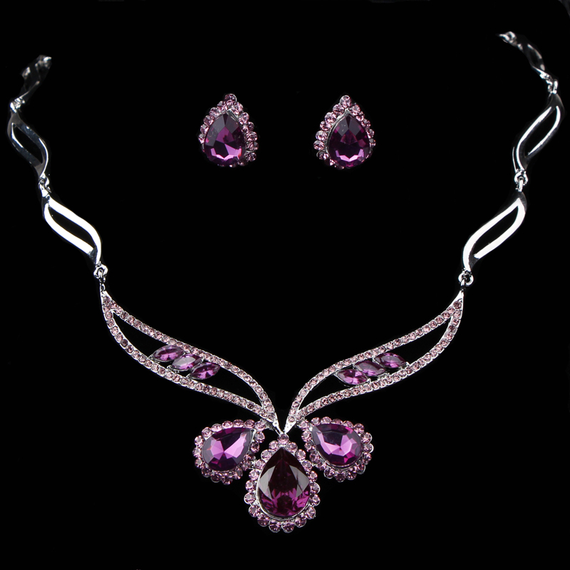 Summer style wedding decoration new Luxury good qualiry Bride fashion brief purple crystal necklace stud earring 2 piece set - BONNIE FASHION BAG store