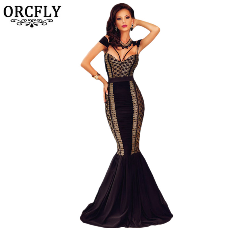 ORCFLY Abito Da Sera Formale 2016 Beautiful Cheap Dresses Summer Clothes For Women Gold Detail Cutout Mermaid Party Dress 60926(China (Mainland))