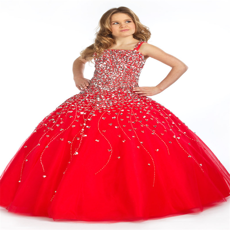 Red Luxury Ball Gowns Kids Party Dress Custom Made Crystal Long Little Girls Pageant Dresses Beading Flower Girl Dress(China (Mainland))