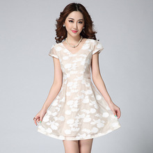 2015 Fashion Summer Three-dimensional Flower Embroidery Organza V-neck Short Dress Sweet Cute Skater Dress Fit And Flare