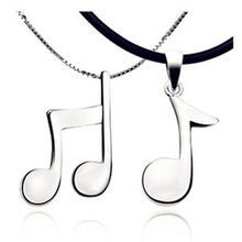 New Arrival Couples Necklace Beautiful Music Note Design Material on 3 Layer Platinum Plated  WN44(China (Mainland))