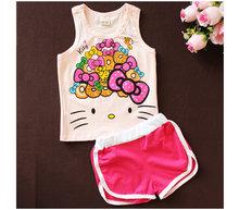 Girls Summer Casual Clothes Set Children Cartoon T-shirt + Short Pants Sport Suits 2016 Toddler Girl Clothing Sets for Kids