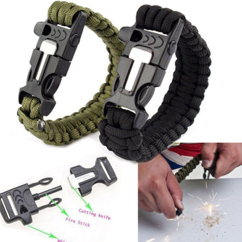 Hot Selling Survival Bracelet Outdoor Gear Kits Scraper Whistle Fire Starter(China (Mainland))