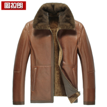 2013 short design mink fur one piece male genuine leather jacket leather clothing leather