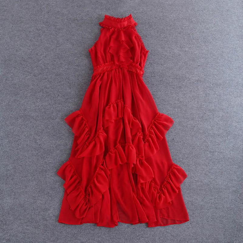 Designer Dress 2016 New Summer Fashion Runway Brand Sleeveless Red Ankle-Length Appliques Romantic Elegant Dress Одежда и ак�е��уары<br><br><br>Aliexpress