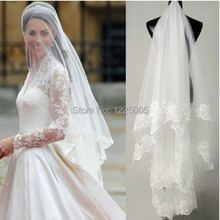 Best 2016 Selling long Lace Appliques 1.2 Meter Length chapel veils Accessories Wedding birdcage and hair(China (Mainland))