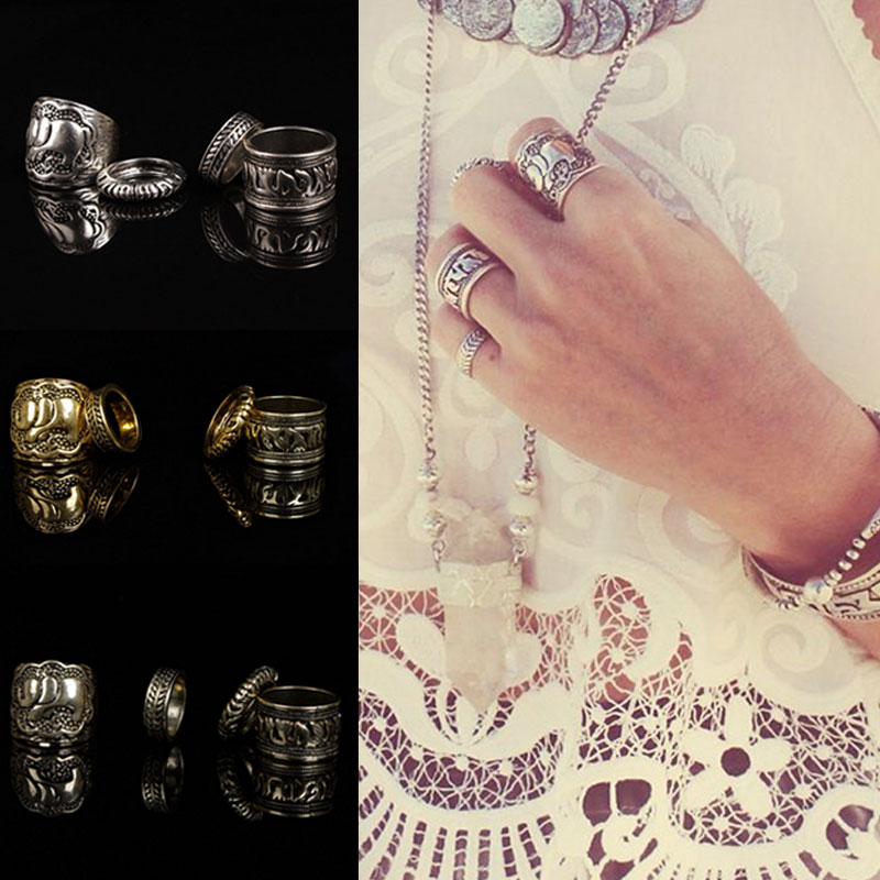 4pc/1 SET Premium Quality Sweet Bronze Silver Antique Elephant Joint Knuckle Nail Ring Set(China (Mainland))