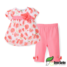 2016 New Summer Baby Girl Floral Print Chiffon T-shirt + Cotton Capris Pants Infant Clothing Set Newborn Bebes Clothes