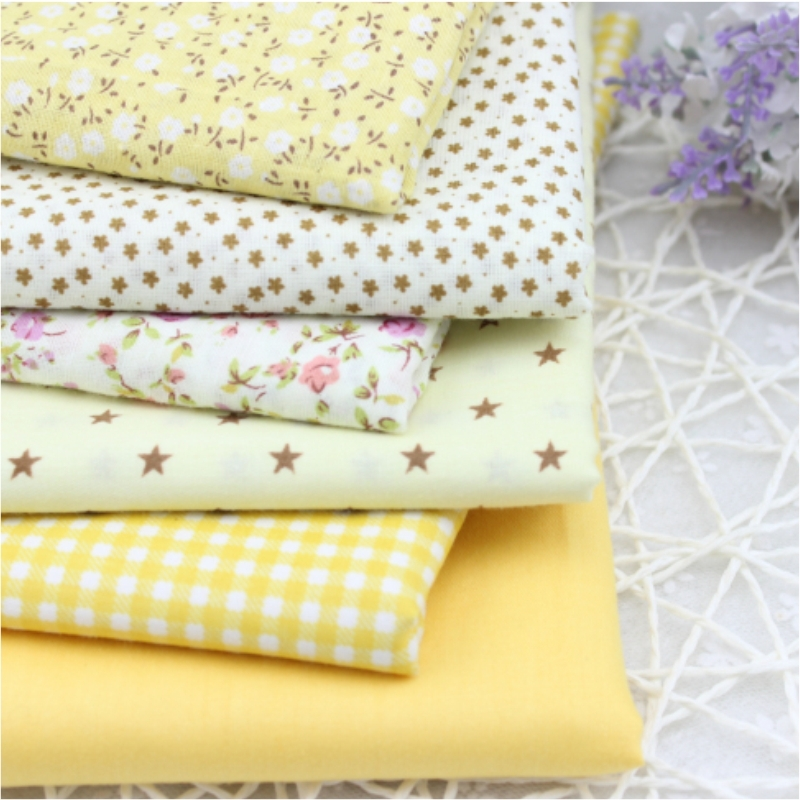Flower Cotton Fabric clothing for DIY Patchwork Sewing Bedding BagTalasite Love Yellow 6 pcs Cloth Textiles Fabric 40*50cm(China (Mainland))