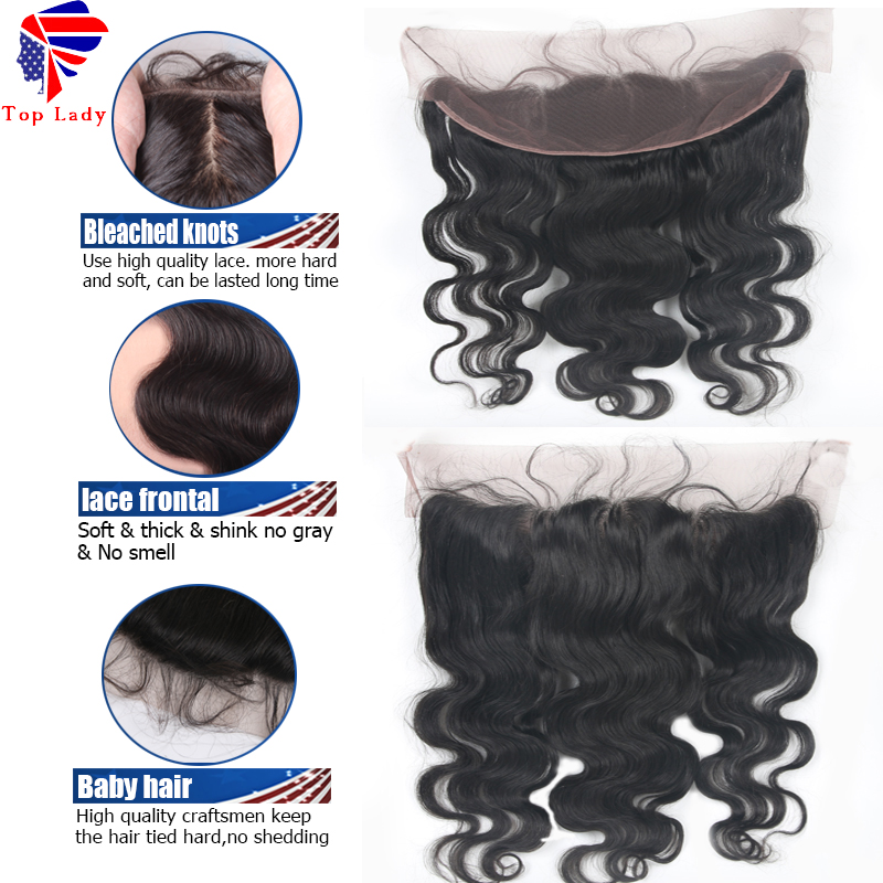 Indian Top Lace Frontal 13x4 Virgin Indian Body Wave Lace Frontal Bleached Knots From Ear To Ear Lace Frontal With Baby Hair