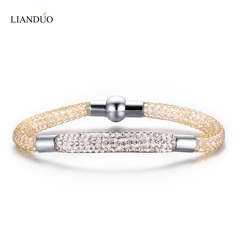 Female Jewelry Stainless Steel Gold-plated Bracelets Bangles Knit Wire Mesh Shiny Crystal Rhinestone Bracelet with Magnet Clasp(China (Mainland))