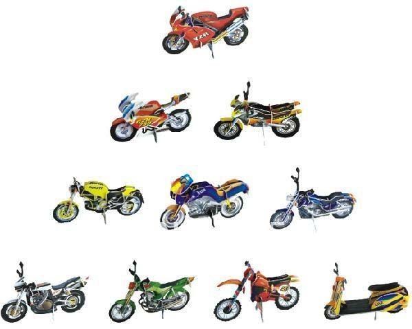 DIY Models,Home Adornment 3D puzzle motorcycle models set (10pcs),Paper craft,racing Card model