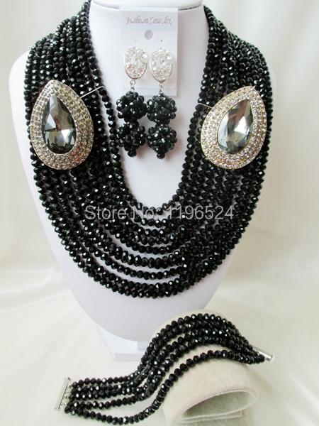 Luxury   Black Crystal Necklaces Bracelet Earrings African Nigerian Wedding Beads Jewelry Set   A-9950<br><br>Aliexpress