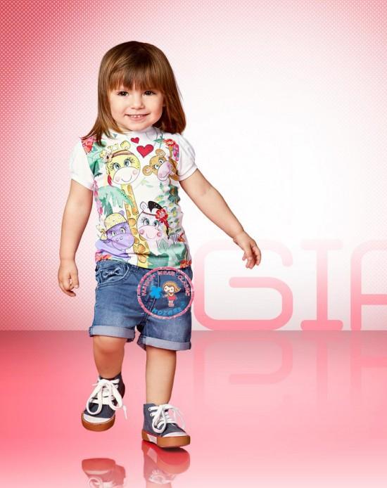 2014 New summer girls cartoon animal print short sleeve t shirt + denim shorts 2pcs sets Kids Children casual Giraffe clothing<br><br>Aliexpress