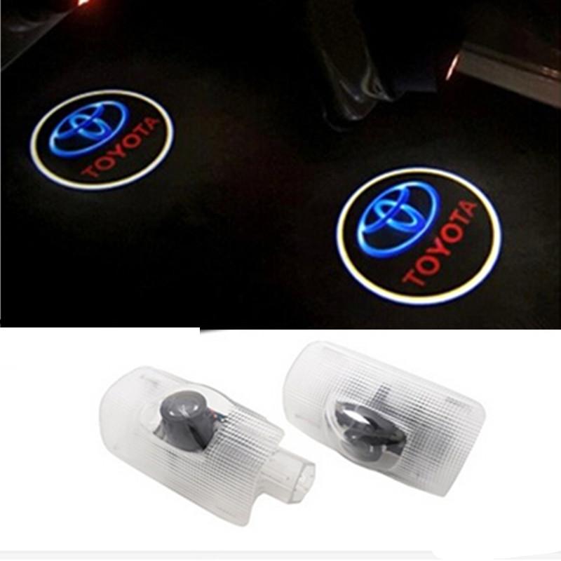 LED Car door Courtesy laser projector LED Logo Ghost Shadow light For TOYOTA Prius Previa Alphard Reiz Camry HighLander Corolla(China (Mainland))