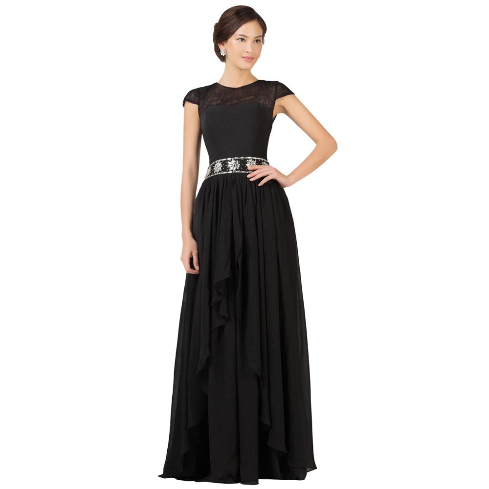 Grace Karin Black Prom Dresses Long 2016 Cap Sleeve Mother ...