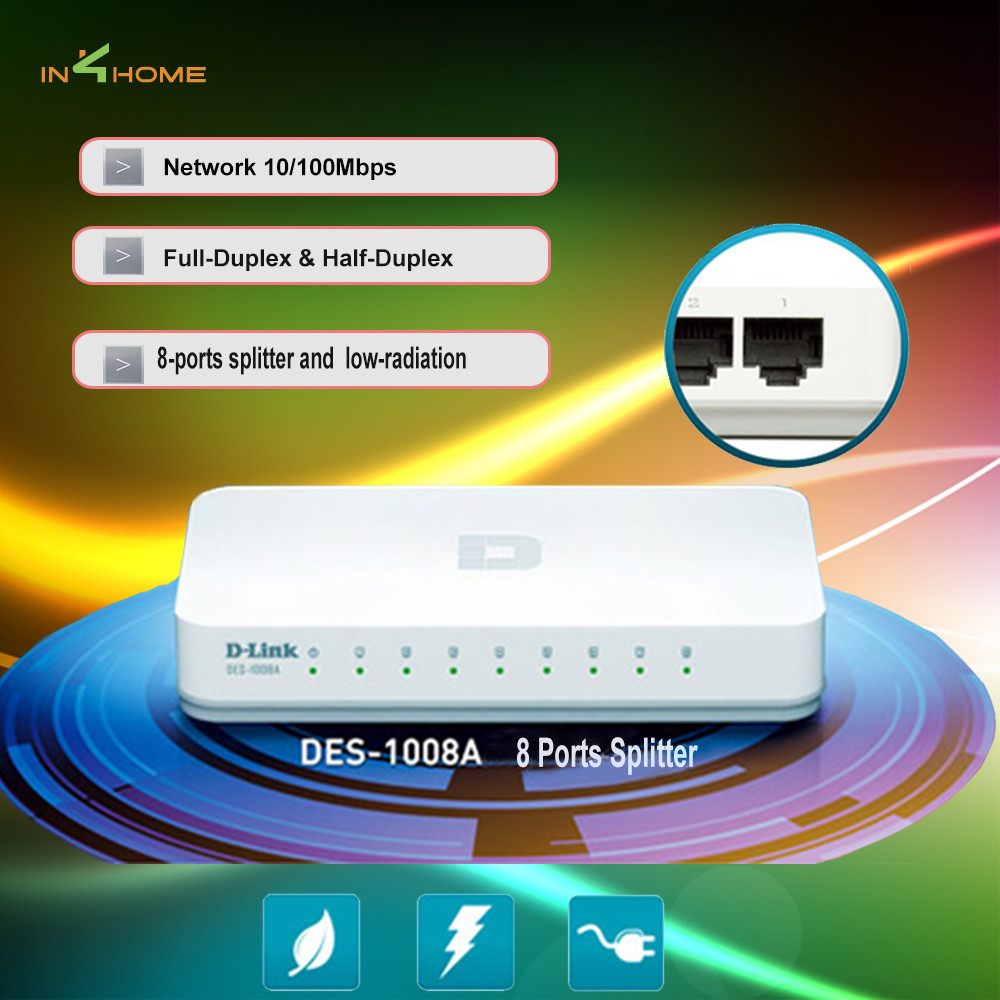 D-Link DES-1008A Network splitters 8 ports ethernet switch/hub network 10/100Mbps Fast Ethernet Switch Network Switch(China (Mainland))