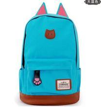 Hotsale Hot Promotion 2015 Women and men's Women Cartoon Cat Ear Backpacks fashion school bag Backpack Women's travel Bags(China (Mainland))