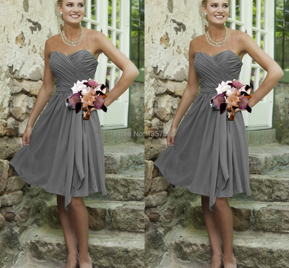 Compare prices on knee length bridesmaid dresses grey online simple cheap silver grey bridesmaid dresses knee length chiffon sweetheart a line open back ruched ombrellifo Images