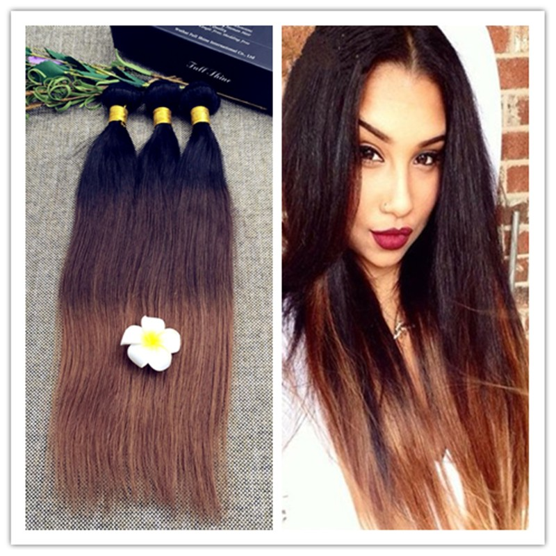 Full Shine 3 Bundles of Brazilian Human Hair Sew in Weave Straight Hair with Ombre 1b 4 30 Cheap Ombre Brazilian Hair 50gPac