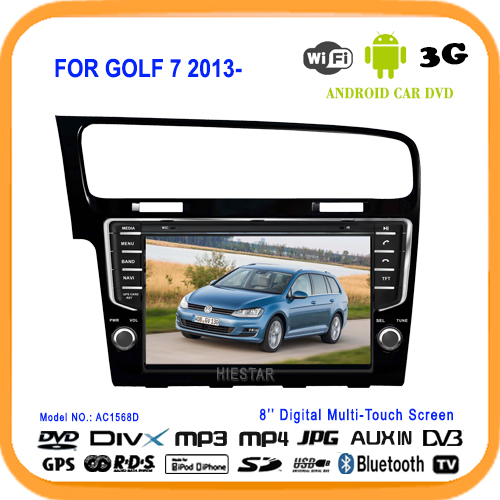 Car Radio DVD Player GPS Nav Smart Android 5.1 Market WIFI Mirro Link 8'' Touch Screen USB/TF MP5 Players For VW GOLF 7 2013(Hong Kong)