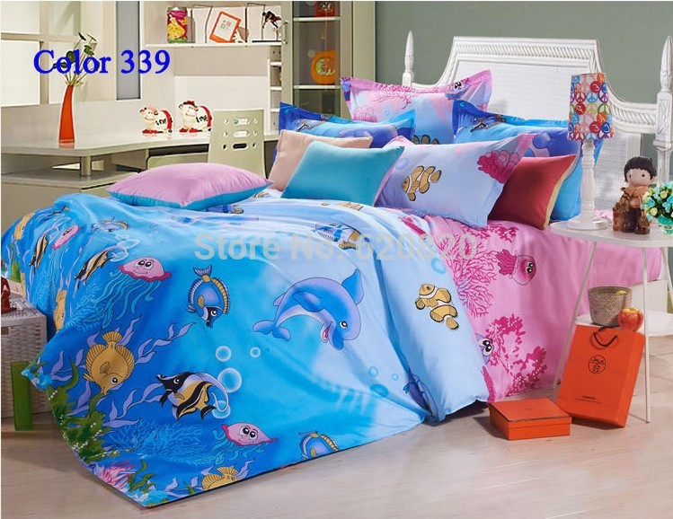 Cartoon animal blue sea with dolphin and fish bedding set for Fish bedding twin
