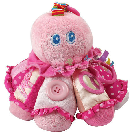 Infant baby educational early learning octopus animal rings bell Plush toy USA high quality Baby Rattles & Mobiles(China (Mainland))